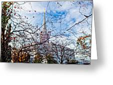 Jordan River Temple Branches Greeting Card by La Rae  Roberts