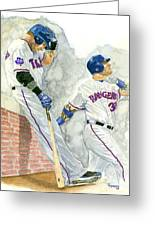 Josh Hamilton The Ball Player Greeting Card by George  Brooks