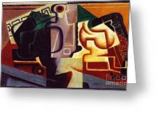 Juan Gris Glas Und Karaffe Greeting Card by Pg Reproductions