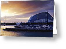 Jumeirah Beach Hotel At Sunrise Greeting Card by Jeremy Woodhouse
