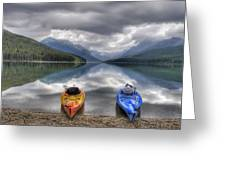 Kayaks On Bowman Lake Greeting Card by Donna Caplinger