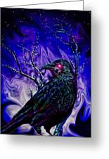 Keeper Of The Crow Night Watch Greeting Card by Tisha McGee