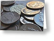 Kennedy Half Dollars I Greeting Card by Bill Owen