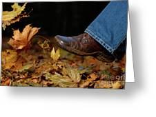 Kicking Fallen Autumn Leaves Greeting Card by Oleksiy Maksymenko