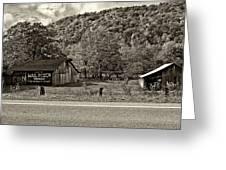 Kindred Barns Sepia Greeting Card by Steve Harrington