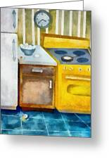 Kitchen With Broken Eggs Greeting Card by Michelle Calkins