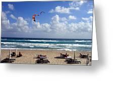 Kite Boarding in Boca Raton Florida Greeting Card by Merton Allen