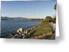 Kitsilano Beach And Vancouver Skyline Greeting Card by Michael S. Lewis