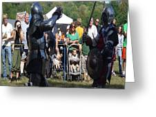 Knights Saber Fighting Greeting Card by Eileen Szydlowski
