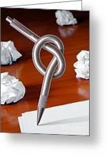 Knot On Pen Greeting Card by Carlos Caetano