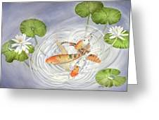 Koi In Lily Pond Greeting Card by Leona Jones