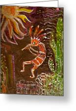 Kokopelli And The Sunny Moon Greeting Card by Anne-Elizabeth Whiteway