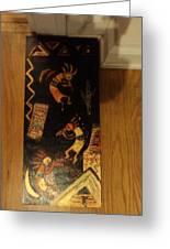 Kokopelli Work In Progress Greeting Card by Anne-Elizabeth Whiteway