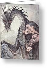 Kor-gat And Black Dragon Greeting Card by Morgan Fitzsimons