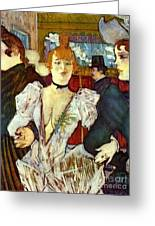 La Goule Arriving At Moulin Rouge Greeting Card by Pg Reproductions