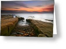 La Jolla Reef Sunset 2 Greeting Card by Larry Marshall