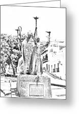 La Rogativa Sculpture Old San Juan Puerto Rico Black And White Line Art Greeting Card by Shawn O'Brien