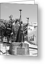 La Rogativa Sculpture Old San Juan Puerto Rico Black And White Greeting Card by Shawn O'Brien