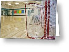 Lacrosse Goals In A Gymnasium Greeting Card by Marlene Ford