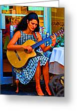 Lady Guitar Greeting Card by Peter  McIntosh