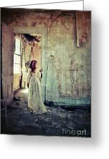 Lady In An Old Abandoned House Greeting Card by Jill Battaglia