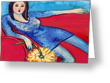 Lady In Blue Greeting Card by Kimberly Van Rossum