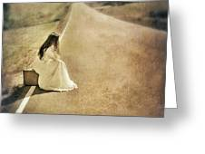 Lady in Gown Sitting by Road on Suitcase Greeting Card by Jill Battaglia
