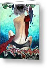 Lady In Red Greeting Card by Jolanta Anna Karolska