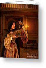 Lady Intudor Gown With Bird Greeting Card by Jill Battaglia