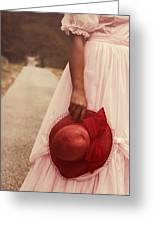 Lady With Hat Greeting Card by Joana Kruse