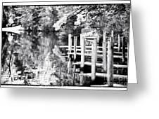 Lake Dock Greeting Card by John Rizzuto