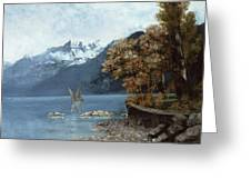 Lake Leman Greeting Card by Gustave Courbet