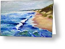 Lake Michigan Beach With Whitecaps Greeting Card by Michelle Calkins