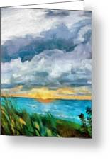 Lake Michigan Sunset Greeting Card by Michelle Calkins