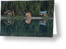 Lake Ohara Lodge Cabins Reflected Greeting Card by Michael Melford