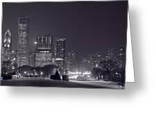Lake Shore Drive Chicago B And W Greeting Card by Steve Gadomski