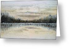Lake Wylie Snow Greeting Card by Jackie Dunford