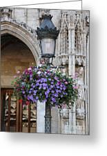 Lamp And Lace At The Grand Place Greeting Card by Carol Groenen