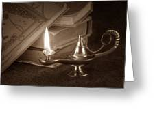 Lamp Of Learning Greeting Card by Tom Mc Nemar