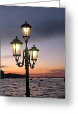 Lampost Sunset In Venice Greeting Card by Catie Canetti