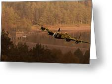 Lancaster Over The Dams Greeting Card by Nigel Hatton
