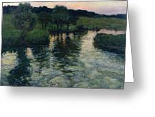 Landscape With A River Greeting Card by Fritz Thaulow