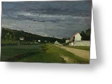 Landscape With Stormy Sky Greeting Card by Camille Pissarro