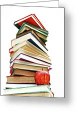 Large Pile Of Books Isolated On White Greeting Card by Sandra Cunningham