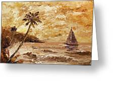 Large Sailboat On The Hawaiian Coast Oil Painting  Greeting Card by Mark Webster