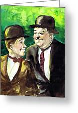 Laurel And Hardy Greeting Card by Mel Thompson