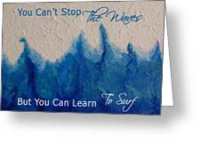 Learning To Surf Greeting Card by The Art With A Heart By Charlotte Phillips