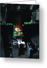 Lego Doll In An Assembly Machine Greeting Card by Volker Steger