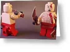Lego Kratos Greeting Card by Rimantas Vaiciulis