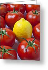 Lemon And Tomatoes Greeting Card by Garry Gay